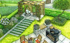 1 garden, 2 ideas: Harmonious transition from the terrace to the garden Organic Farming, Organic Gardening, Landscape Design, Garden Design, Flower Garden Plans, Garden Planning, Backyard Landscaping, Backyard Layout, Compost