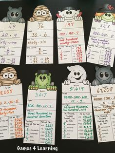 Halloween Math Place Value Friends - Cute Halloween characters with place value for 2-5 digits! Makes a great Halloween math display! $