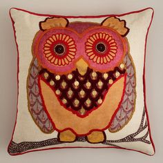 Rust Owl Throw Pillow at Cost Plus World Market >>#WorldMarket Urban Dwellings Collection
