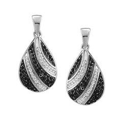 10KT White gold 0.33 ctw diamond and color enhanced black diamond earrings. EAR-DIA-1472