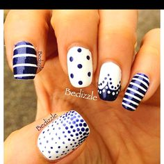 Navy and white nails