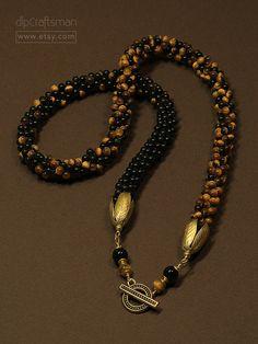 Tiger Eye and Onyx Beaded Necklace, Kumihimo Braided Tiger Eye and Onyx Necklace by dlpCraftsman on Etsy