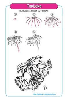 Draw Flower Patterns Zentangle pattern Tapijoka by Suzanne Crisafi Zentangle Drawings, Doodles Zentangles, Doodle Drawings, Easy Drawings, Doodle Art, Zen Doodle, Doodle Designs, Doodle Patterns, Zentangle Patterns