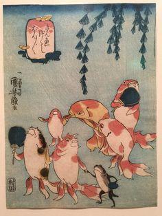 """Kuniyoshi, Les poissons rouges : la chanson """"Bon-bon"""", 1842 (expo Fantastique, Petit Palais)"""