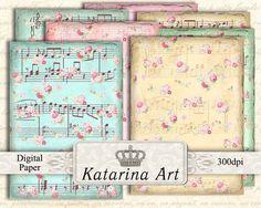 Rosas de la música. Hoja de collage digital. 18 por KatarinaArt, $4.80