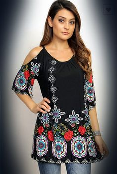 The Bling Box - Boho Floral Tunic in Plus Size, $38.99 (http://www.theblingboxonline.com/boho-floral-tunic-in-plus-size/)