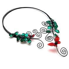 Open Front Choker Black Wire Torc Necklace Red Lampwork Butterflies | BrainofJen - Jewelry on ArtFire