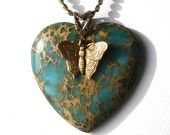 Turquoise heart and butterfly pendent
