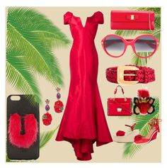"""The shade of red"" by denisee-denisee ❤ liked on Polyvore featuring Zac Posen, Valentino, Aquazzura, Karl Lagerfeld, Salvatore Ferragamo, Fendi, Gucci, Yves Saint Laurent, Oscar de la Renta and Burberry"