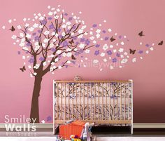 Flower Tree and Butterflies in the Wind - EXTRA LARGE SIZE Nursery Vinyl Wall Decal. $119.00, via Etsy.