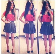 Leather circle skirt❤ cute outfit
