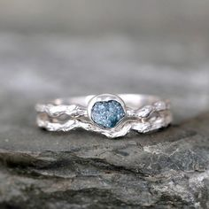 Raw Blue Diamond Twig Engagement Ring Tree Branch by ASecondTime