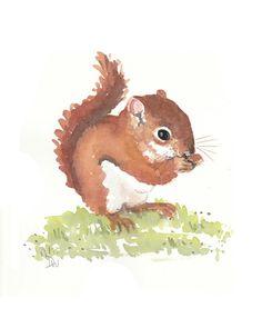 Squirrel Watercolor Original Painting Squirrel por WaterInMyPaint