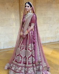 The colour of your lehenga makes your bridal look unique! Explore our list of Indian bridal lehenga colours inspirations that you'd surely fall in love with! Indian Bride Dresses, Indian Bridal Outfits, Indian Bridal Lehenga, Indian Bridal Fashion, Indian Bridal Wear, Red Lehenga, Indian Designer Outfits, Anarkali, Sabyasachi Lehenga Bridal