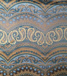 Tassel belt inspiration #3. Brocade Fabric-Brocade Blue Gold Scallop, , hi-res