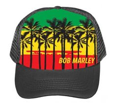 Officially licensed Bob Marley trucker hat featuring silk-screened front palm tree beach scene.