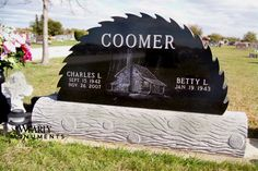 Jet Black granite cut as a saw blade and India Gray granite sculpted as a log. The Coomer memorial is a great example of what happens when staff listens to client. The Coomer family owned a sawmill. The sales staff knew this was important to the family and presented this idea. It was a perfect fit.