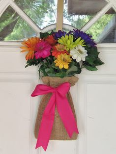"""flowers tucked into a small burlap bag as a """"wreath"""" live. love. scrap.: Spring """"Wreath"""" DIY"""