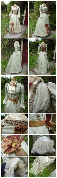 Walking Outfit From 1888-90 In Pale green silk faille. Ebay: honeychild0_2