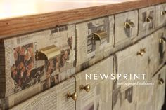Aunt Peaches: Newsprint Cabinets