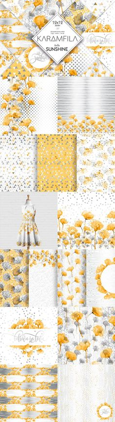 Yellow & Grey Floral Patterns by Karamfila on @creativemarket