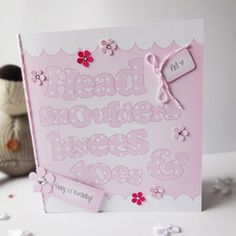 Head, Shoulders, Knees & Toes Handmade 'Rhyme' Card.