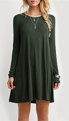 Long Sleeve Pure Color Dress