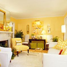 30 Awesome Yellow Living Room Color Schemes That People Never Seen - Barthram News Yellow Walls Living Room, Cottage Living Rooms, Living Room Color Schemes, Living Room Paint, Living Room Modern, Living Room Decor, Yellow Rooms, Yellow Chairs, Small Living