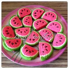 tried flavors, delicious-recipes: watermelon cookies - Watermelon Cookies, Cookies Decorados, Biscuits, Paint Cookies, Big Cakes, Steamed Buns, Food Decoration, Vegetable Drinks, Healthy Eating Tips
