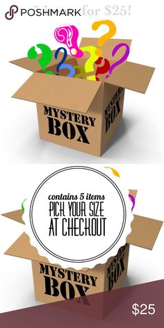 Mystery Box Bundle! All items are EUC, NWT or Boutique. Some may contain jewelry and/ or accessories. I have 3 sizes listed. You can pick S/M , M/L , L/XL or XL/1X  All boxes will contain a mix of pants, skirts, shorts, leggings, tops, bikinis, jewelry or accessories. Many are listed and many are not. Look through my closet to check out my style!   Please Note: All sales are final. If you don't like something you can always reposh it! Each item costs $6.20 with shipping. So it's a win win…