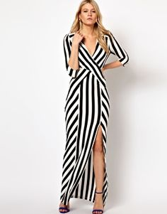 Love Stripe Maxi Dress With Cut Out And Thigh Split.