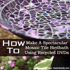 How To Make A Spectacular Mosaic Tile Birdbath Using Recycled DVDs - Plant Care Today