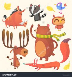 Collection of cartoon forest animals images. Vector set of animal icons isolated on white. Vector illustration of boar, badger, blue bird, elk moose, bear, owl and fox. Design logo, icon or emblem