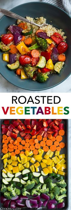 Roasted Vegetables - this is hands down the best way to cook vegetables. Roasted Vegetables - this is hands down the best way to cook vegetables. When you roast them it adds depth and delicious flavor, and they finish with . Roasted Vegetable Recipes, Veggie Recipes, Whole Food Recipes, Vegetarian Recipes, Cooking Recipes, Oven Roasted Vegetables, Best Vegetables To Roast, Dinner With Vegetables, How To Cook Vegetables