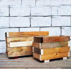 Houten plantenbakken Paulie. Gemaakt van gerecycled hout.