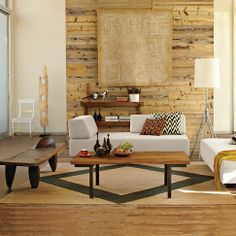 Light, warm, earthy influences, organic textures. Industrial coffee table #west_elm