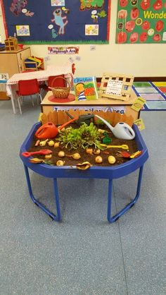 Oliver's Vegetables inspired the study area. Oliver's Vegetables inspired the study area. Eyfs Activities, Nursery Activities, Spring Activities, Activities For Kids, Harvest Activities, Preschool Ideas, Tuff Spot, Sensory Table, Sensory Bins