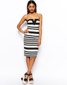 River Island Stripe Bandeau Dress