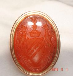 14kt gold and Carnelian intaglio seal ring $850