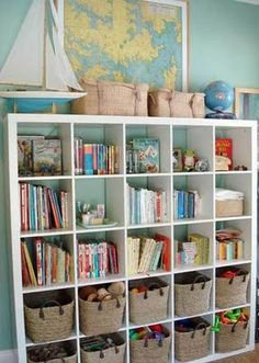 Great kids bedroom toy storage: IKEA Expedit bookshelf + nice looking baskets = play + tidy & organized. From House Crashing: Stunning In Sydney Casa Kids, Playroom Organization, Playroom Ideas, Organized Playroom, Office Playroom, Playroom Colors, Office Cube, Ikea Playroom, Colorful Playroom