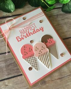 Yummy ice cream birthday card!! Sneak peek of a new stamp set coming out in January! #handmadecards #prettypapercards #stampinup #cooltreats #occasionscatalog2017
