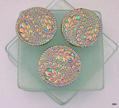 "2 Big Bold Beautiful Czech Glass Buttons Vines, Flowers Hot Pink and Blues 3D 1 5/16"""