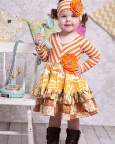 "Giggle Moon ""Harvest Party"" Orange Stripe and Fall Floral Print Party DressSizes Jules Boutique, Kids Boutique, Cute Girl Outfits, Cute Outfits For Kids, Little Girl Fashion, Kids Fashion, Girls Boutique Dresses, Girls Dresses, Girls Thanksgiving Outfit"