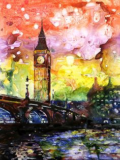 Watercolor painting of Big Ben silhouetted at sunset in the city of London, England. Painted on YUPO synthetic paper.