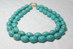 Turquoise Big Beads Beaded Statement Necklace Blue Green Ovals Double Strand http://etsy.me/1tg7EHx via @Etsy #turquoisechunkynecklace #turquoisenecklace #chunkynecklace