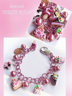 shades of pinks, greens, purples, whites fimo charms on a bracelet