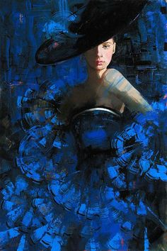 Irene Sheri Vishnevskaya~(born in the Ukraine in 1968 ~ Romantic Impressionist painter) Blue Inside Richard Burlet, Klimt, William Morris, Shades Of Blue, Female Art, Street Art, Colours, Illustrations, Fine Art