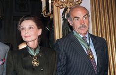 Audrey Hepburn and Sean Connery photographed together after having beenawarded a Commandeur de L'Ordre des Arts et des Lettres for their significant contributions furthering the arts in France and throughout the world, Paris, France, March 6, 1987. Audrey and Sean received the award from Deputy culture minister Philippe De Villiers.