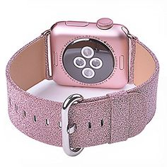 Apple Watch Band, iitee Glitter Bling Replacement Leather Bracelet for Apple Watch Series 3 Series 2 Series 1(38mm Pink Glitter) #Apple #Watch #Band, #iitee #Glitter #Bling #Replacement #Leather #Bracelet #Series #Pink #Glitter)