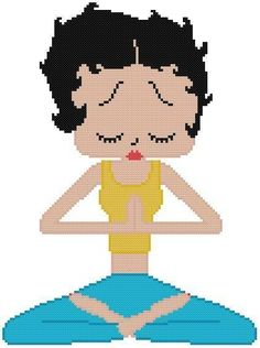Cross Stitch Knit Crochet Plastic Canvas Waste Canvas Rug Hooking Pattern Betty Boop keeps her sanity by meditating. Namaste Betty. https://www.pinterest.com/resparkled/